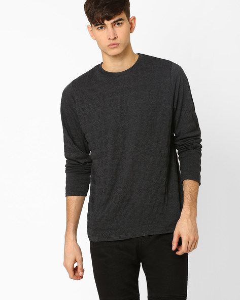 Crew-Neck T-shirt With Full Sleeves By BASICS ( Black )