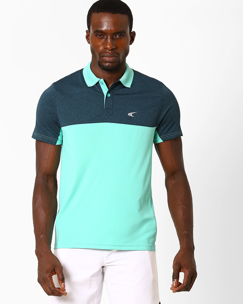 Colourblock Polo T-shirt With Quick Dry By PERFORMAX ( Dkturq )