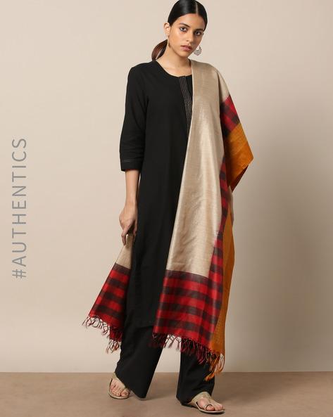 Handloom Pure Silk Tussar Muga Dupatta By Indie Picks ( Multi )