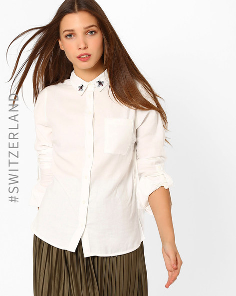 Classic Shirt With Embroidered Collar By TALLY WEiJL ( Offwhite )