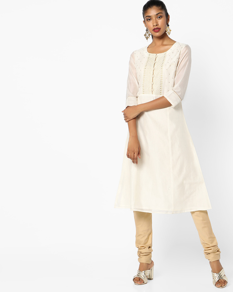 Flared Kurta With Embroidery By AJIO ( Offwhite )