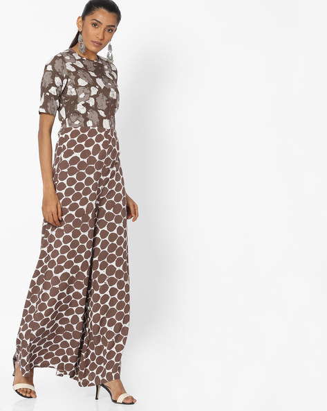 Printed Jumpsuit With Cutout By Desi Weaves ( Beige )