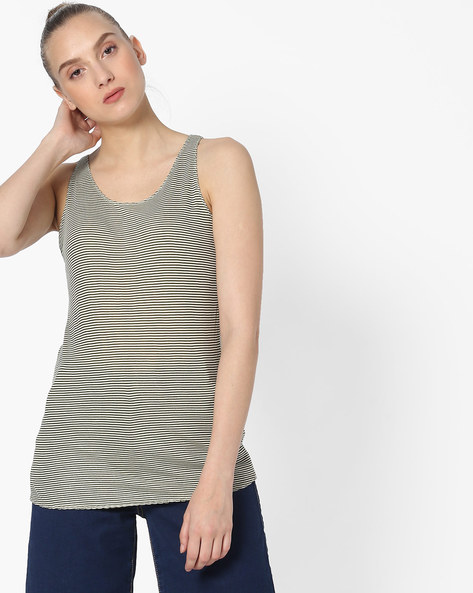 Striped Sleeveless Top By DNMX ( Olive )