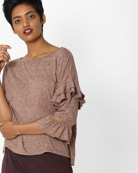Heathered T-shirt With Ruffled Sleeves By Only ( Grey )