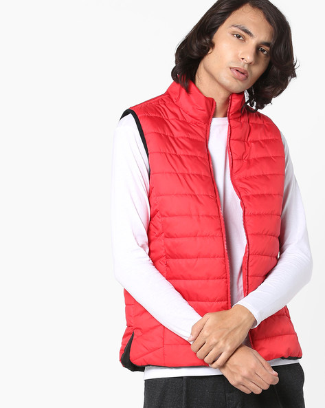 Quilted Sleeveless Jacket By AJIO ( Red )