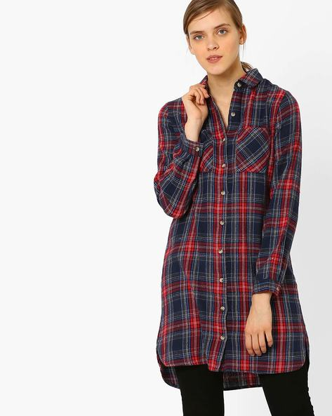 Flannel Checked Shirt Dress By AJIO ( Red )