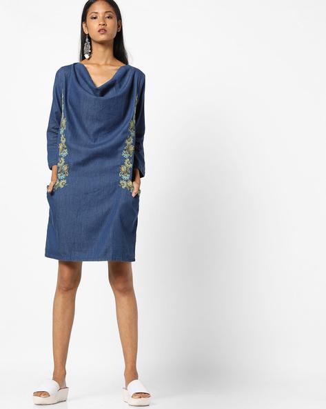 Cowl-Neck Dress With Embroidery By AJIO ( Darkblue )