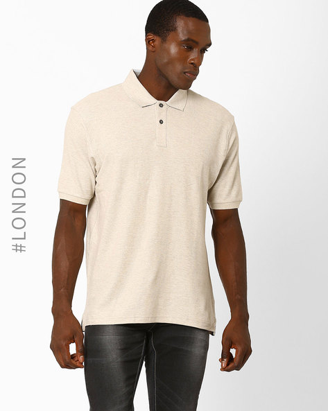 Tailored Fit Cotton Polo T-Shirt By Marks & Spencer ( Lightbrowngold )