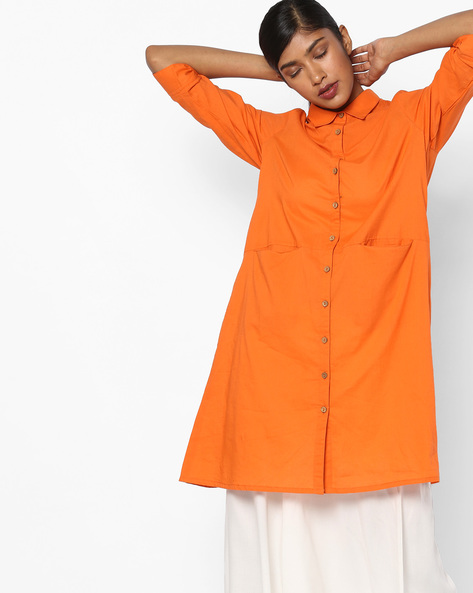 Shirt Tunic With Graphic Embroidery By AJIO ( Rust )