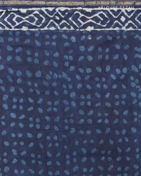 Handblock Indigo Print Chanderi Saree With Zari By Indie Picks ( Indigo ) - 460146825001