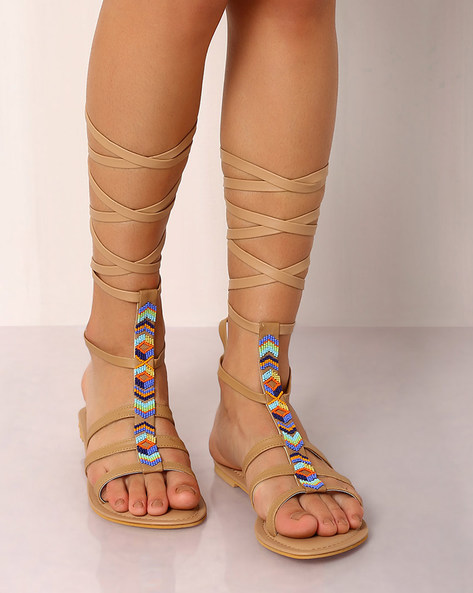 Beaded Gladiator Sandals By Indie Picks ( Brown )