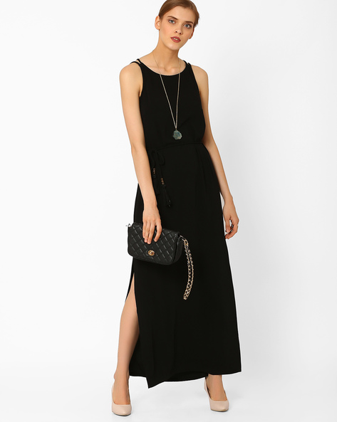 Maxi Dress With Tie-Up By AJIO ( Black )