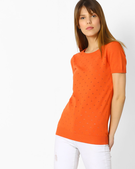 Knitted Cotton Top By FIG ( Orange )
