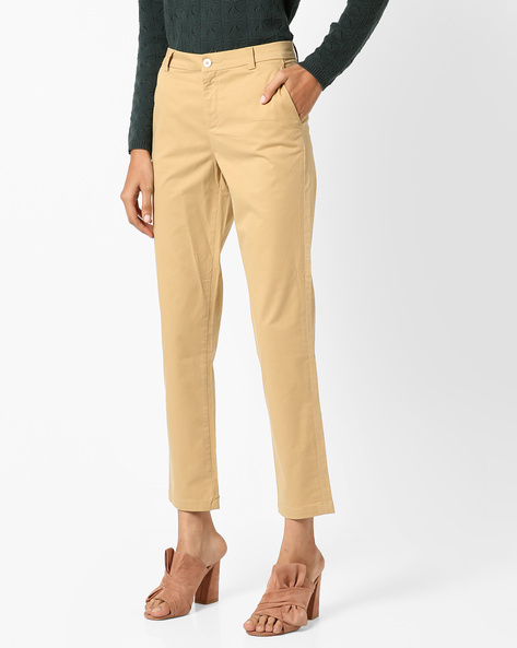 Mid-Rise Pants With Insert Pockets By Project Eve WW Casual ( Beige )