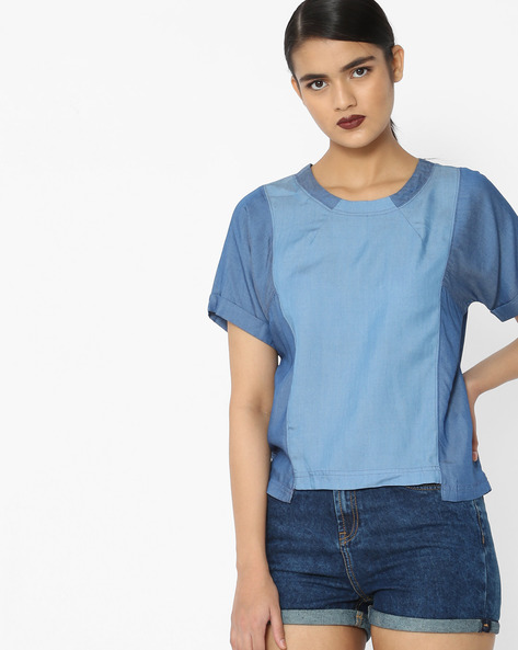 Panelled Top With Short Sleeves By Lee ( Blue )