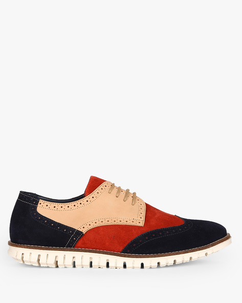 Genuine Leather Colourblock Casual Shoes By AJIO ( Multi )