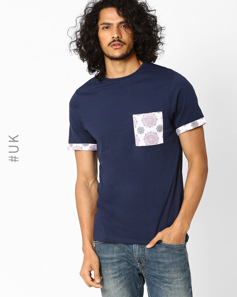 Crew-Neck T-shirt With Patch Pocket By Another Influence ( Navy )
