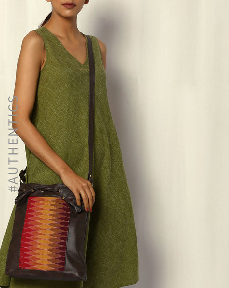 Handwoven Ikat Vegan Leather Sling Bag By A BIG INDIAN STORY ( Brown )
