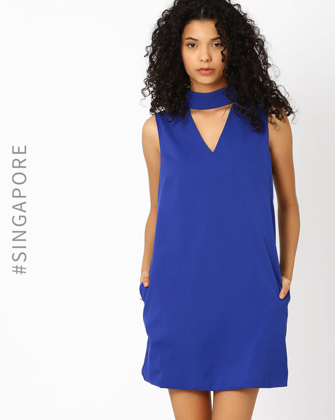 Shift Dress With High Neckline By MDS ( Blue )