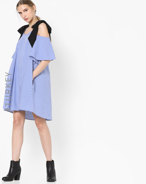 Striped Shift Dress With Tie-Ups By TRENDYOL ( Blue )