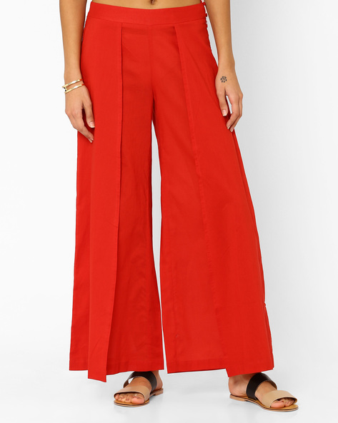 Wrap Palazzo Pants By AJIO ( Red )