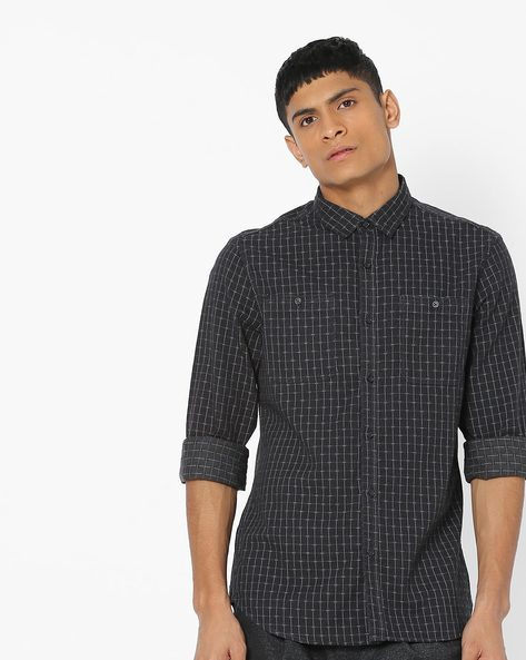 Checked Shirt With Patch Pockets By AJIO ( Grey ) - 460143963003