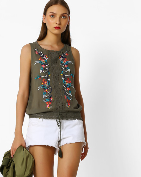 Floral Embroidered Top With Lace Panels By RIO ( Green )