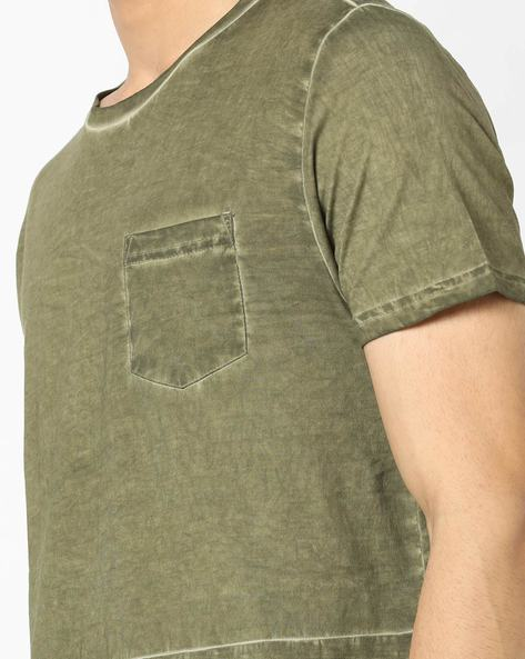 Lightly Washed T-shirt With Patch Pocket By AJIO ( Olive )