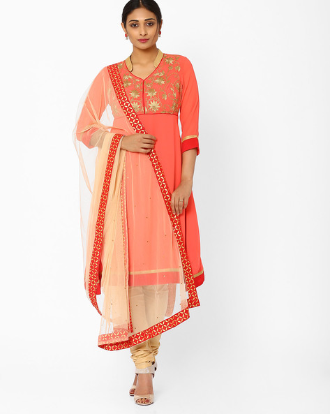 Embroidered Churidar Kurta With Dupatta By AJIO ( Peach )