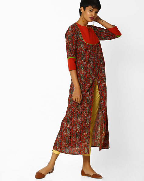 Paisley Print A-line Kurta With Front Slit By Jaipur Kurti ( Rust )