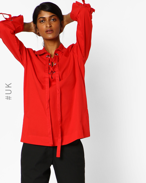 Cotton Lace-Up Shirt By NEON ROSE ( Red )