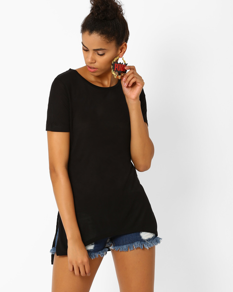 High-Low T-shirt With Slits By Lee ( Black )