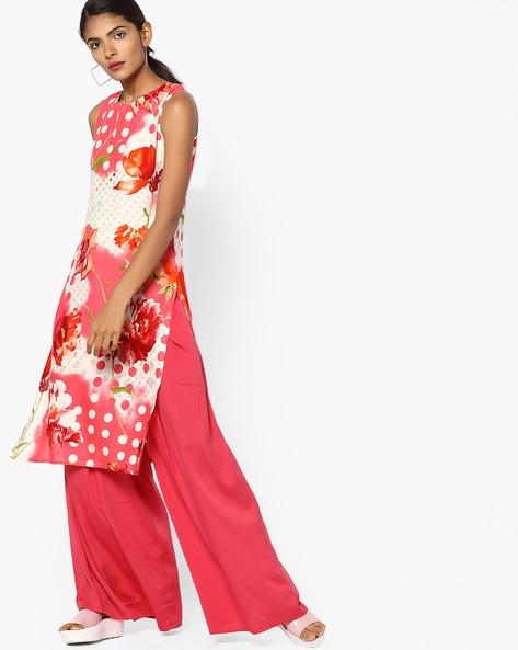 Peony Floral Print Sleeveless Kurta By SOCH ( Coral )