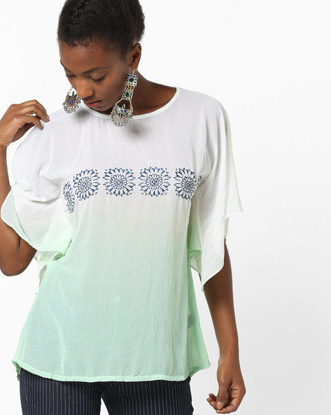 Ombre-Dyed Top With Embroidery By Indusdiva ( Green )