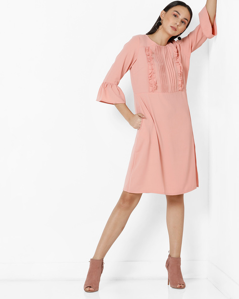 Bell Sleeve Shift Dress With Ruffles By Project Eve WW Work ( Peach )
