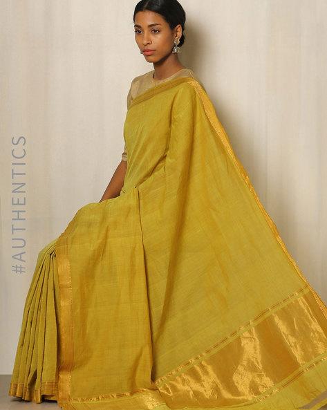 Handwoven Mangalgiri Cotton Saree With Zari Border By Indie Picks ( Green ) - 460034838001