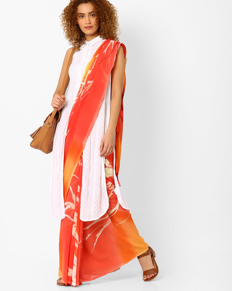 Printed Saree With Blouse Piece By Arissa ( Orange )