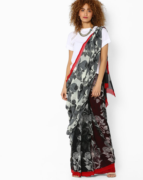 Printed Saree With Contrast Border By Majestic Silk ( Black )