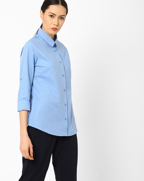Slim Fit Shirt With Patterned Weave By AJIO ( Blue )