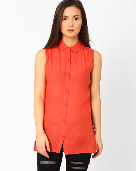 Sleeveless Shirt With Side Slits By ANONYMOUS CO ( Red )
