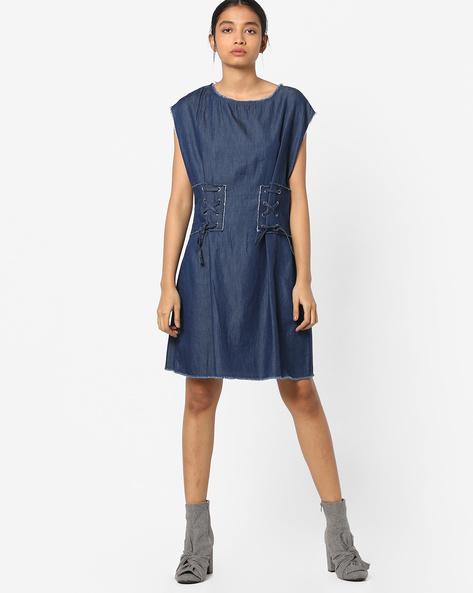 Denim Shift Dress With Tie-Ups By AJIO ( Blue )