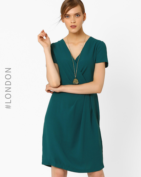 Cross-Over Shift Dress With Tie-Up By Closet London ( Teal )