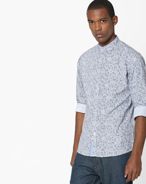 All-Over Print Mandarin Shirt By UNITED COLORS OF BENETTON ( White )