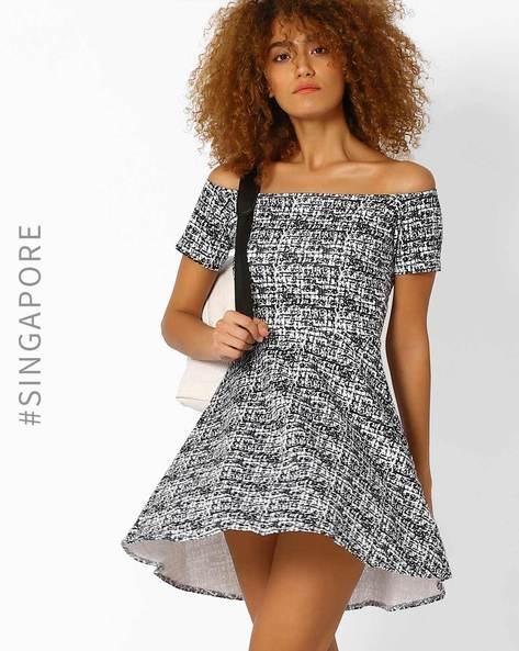Off-Shoulder Skater Dress By MDS ( White )