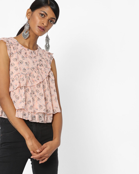 Floral Print Ruffled Top By Ginger By Lifestyle ( Pink )