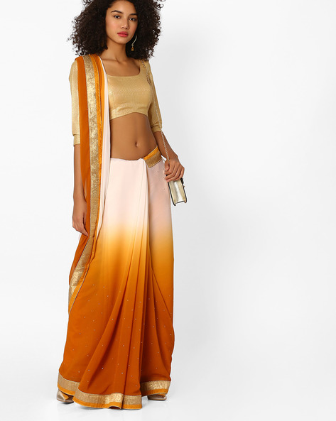 Ombre-Dyed Saree With Contrast Border By Viva N Diva ( Mustard )