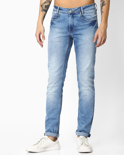 Heavily Washed Super Slim Core Jeans By MUFTI ( Lightblue )