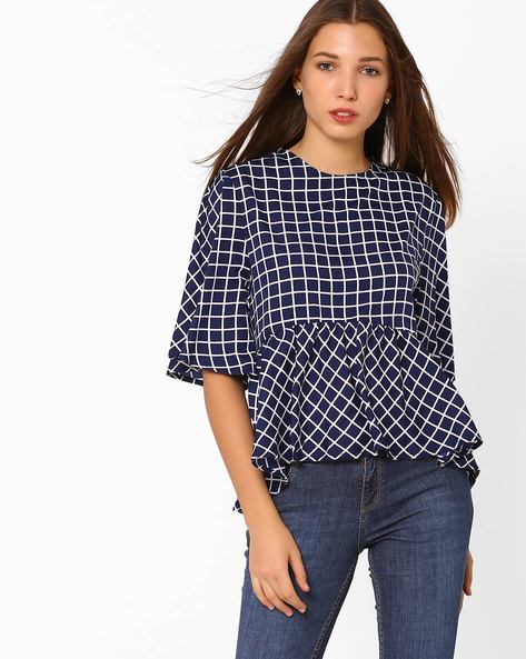 Checked Peplum Top By Rena Love ( Navy )