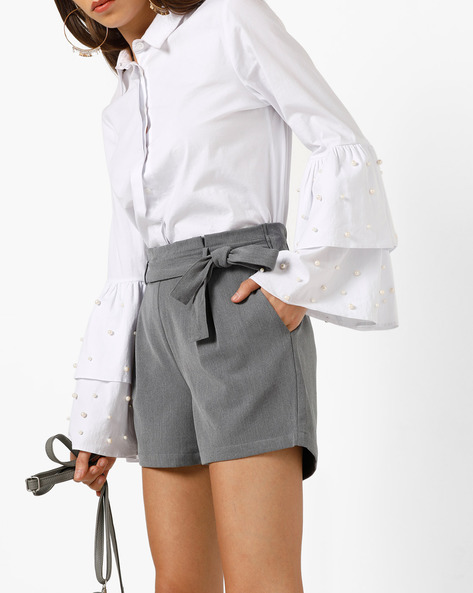 Pleated Shorts With Tie-Up Waist By Only ( Grey )