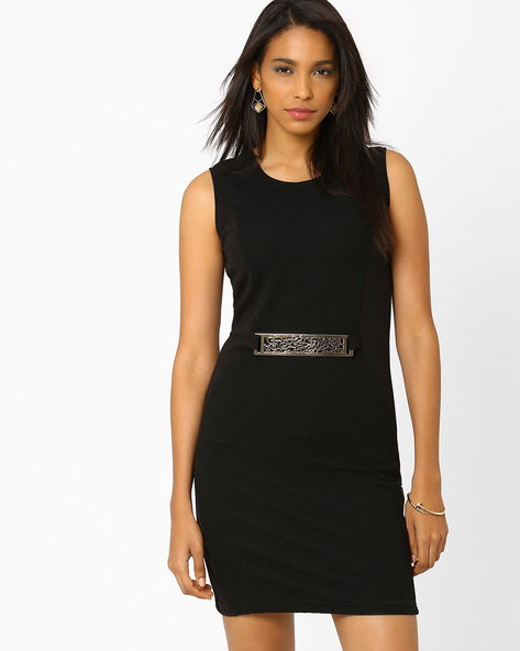 Panelled Sheath Dress With Metal Trim By AJIO ( Black )